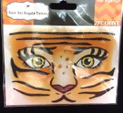Wild Animal CAT TIGER-Stick on Eye Wear Glitter Sequin Tattoo Decal with Classic Detail. Eye Shadow Face Art Sticker. Temporary Tattoos Transfer with Faux Rhinestone Gems Makeup Special Effects Cosmetic Accessory, as pictured. Easy removal.