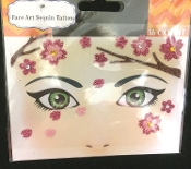 PINK SPRING SPRINGTIME FLOWERS-Stick on Eye Wear Glitter Sequin Tattoo Decal with Classic Detail. Eye Shadow Face Art Sticker. Temporary Tattoos Transfer with Faux Rhinestone Gems Makeup Special Effects Cosmetic Accessory, as pictured. Easy removal.