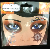 Gothic Punk Costume Makeup-PIRATE-Stick on Eye Wear Glitter Sequin Tattoo Decal with Classic Detail. Eye Shadow Face Art Sticker. Temporary Tattoos Transfer with Faux Rhinestone Gems Special Effects Cosmetic Accessory, as pictured. Easy removal.