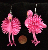 HUGE Funky Dangle Toy Charm PINK FLAMINGO EARRINGS Tropical Bird Luau Beach Party Costume Jewelry
