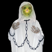 Spooky Life Size Hanging WHITE GHOST LIGHT-UP CHAINED REAPER Creepy Halloween Prop Haunted House Five-Foot Long Scary Decoration with Lighted Morphing Multi Color Changing Skeleton Skull has Shackled Poseable Arms. Includes DEMO Batteries