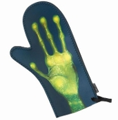Take me to your leader! GREETINGS EARTHLING ALIEN HAND Novelty Oven Mitt Roswell Martian Mad Scientist Laboratory Sci-Fi Horror Halloween Party Kitchen Prop Decoration - ONE - Right Hand Only - For the chef whose cooking is... out of this world!
