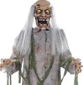 Creepy Life Size Animated 60-inch STANDING ZOMBIE PROP Spooky Moving Mouth with Realistic Groaning Sounds Scary Lighted LED EYES Walking Dead inspired Halloween Haunted House Cemetery Graveyard Horror Scene Decoration-Stand has Stability Tanks-5-FEET