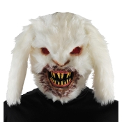 Creepy Realistic Horror UNDEAD RABID BUNNY KILLER RABBIT FACE MASK Halloween Decoration Cosplay Costume Accessory White Fake Fur Scary ZOMBIE Monster Haunted House Prop. Elastic Strap on Back. Kids will never look at the Easter bunny the same again!