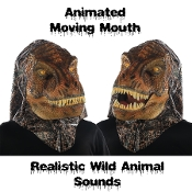 T-REX TYRANNOSAURUS DINOSAUR ANIMATED WILD ANIMAL MASK Moving Mouth Movable Jaw with Push Button Activated Realistic Sound Effects Faux Lizard Skin Furry Furries Fandom ADULT Full Over Head Fancy Dress Halloween Cosplay Costume Party Accessory-VIDEO!