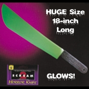 Huge Life Size Classic Machete Knife Licensed SCREAM Toy with GLOW-in-the-DARK Blade Haunted House Prop Jumbo Fake Novelty Plastic Weapon Horror Movie Slasher Theme LARP Cosplay Halloween Costume Accessory