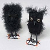 cute dimensional fuzzy flocked mini feathered black owls gothic artificial birds halloween ornaments haunted house