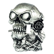 Gothic DIMENSIONAL SKULL LIGHT SWITCH COVER Antique Silver Color Heavyweight Resin Switchplate Metallic Painted Faux Pewter Finish Halloween Haunted House Teen Room Man Cave Decoration. Steampunk Biker Skeleton with Rose in his teeth, ready to rock!