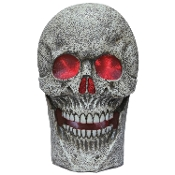HUGE TWO-FOOT TALL Gothic Multi-color Morphing LIGHT UP SKULL Classic Moaning SPOOKY SOUNDS Halloween Haunted House Dungeon Cemetery Graveyard Yard Prop. Creepy Grim Reaper Costume Decoration. 24-inch Spooky Lighted Pirate Castle Decor. SEE VIDEO!
