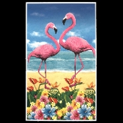 Tropical Island Create Scene Setter FLAMINGO RAINFOREST BIRDS DOOR COVER WALL HANGING Luau Beach Pool Party Decoration Prop. Multi-Color Florida Hawaiian Tahitian Voodoo Pirate Theme WINDOW MURAL TABLE SKIRT CLOTH COVER Indoor Outdoor Party Supplies