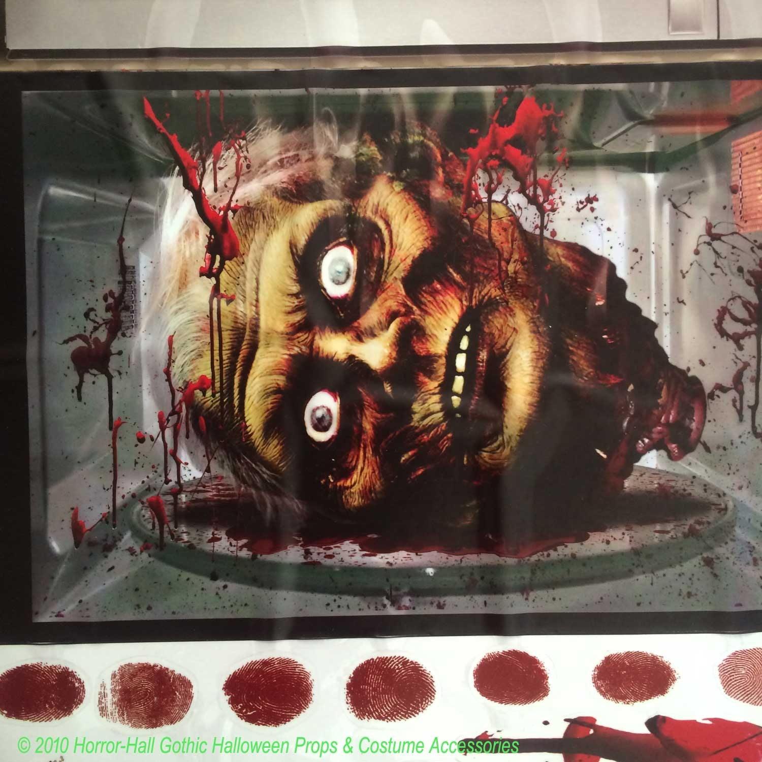 bloody hand print help beware out horror sticker cling decal