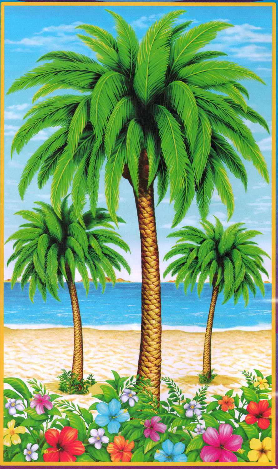 Tropical Island Scene Setter COCONUT PALM TREE WALL HANGING Luau Beach Pool Party Decoration Prop 72x42
