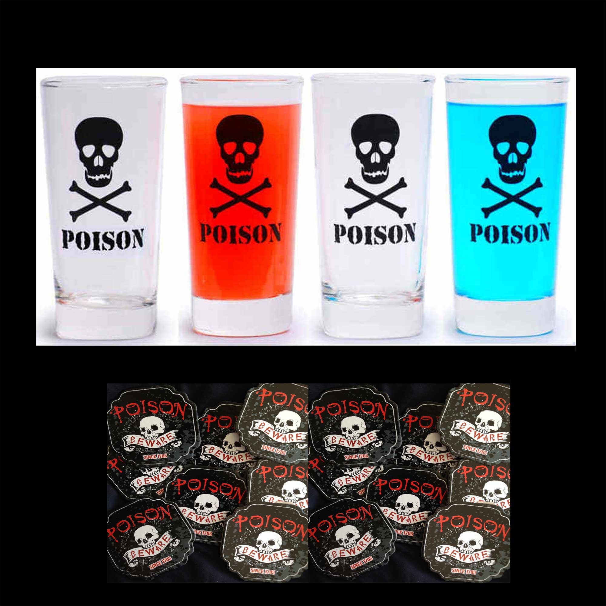 POISON SKULL CROSSBONES CLEAR DRINK GLASSES-4 Piece SET-16 Oz-Highball Cocktail Beer Pint Glassware Pirate Theme MAN CAVE Tiki Bar Beverage Drinkware Soda Pop Soft Drink Drinking Water Glass-Circleware Brand Limited Edition Design-with FREE COASTERS