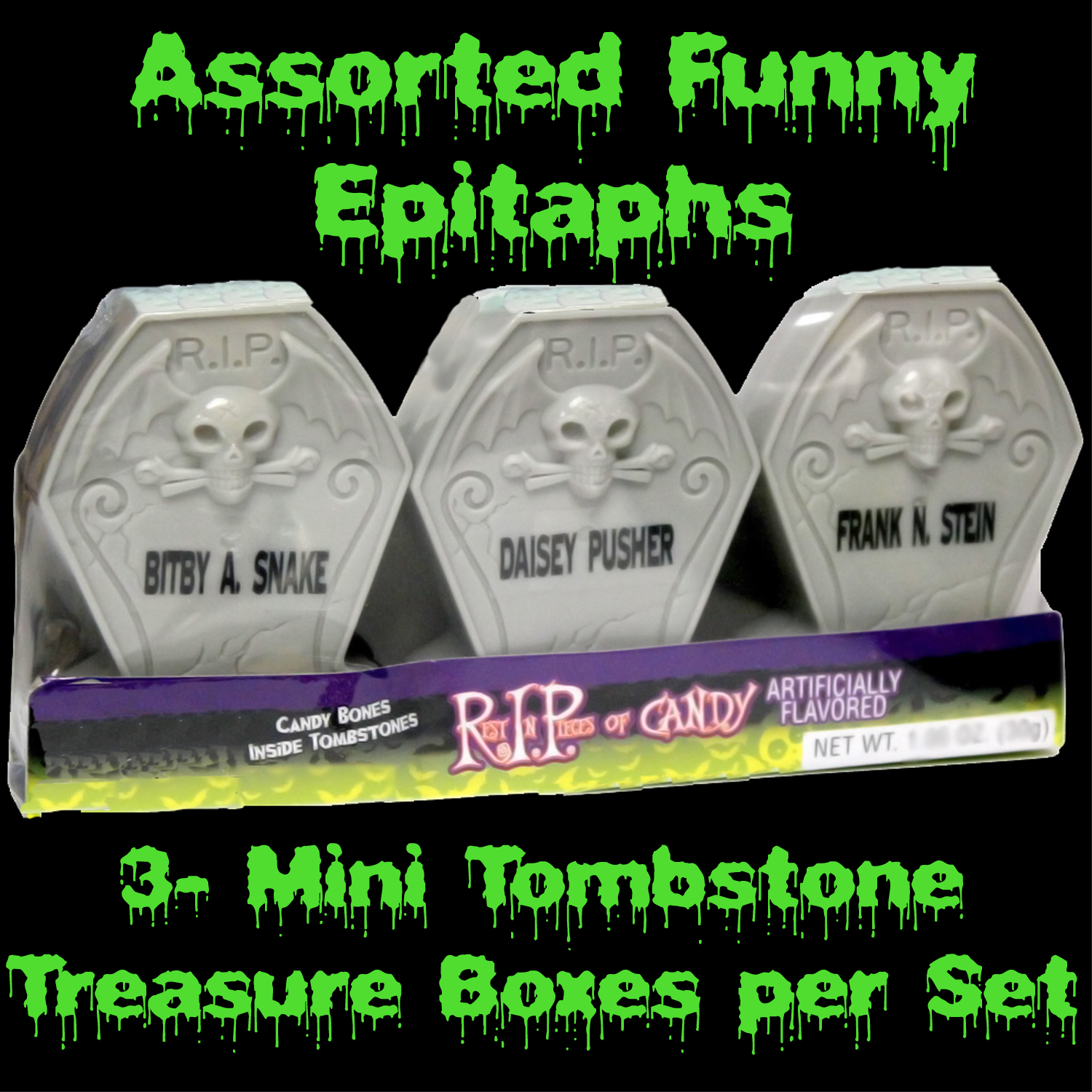 3 pack novelty gothic rest in pieces bones candy filled tombstones halloween party favor over - Funny Halloween Tombstone Names