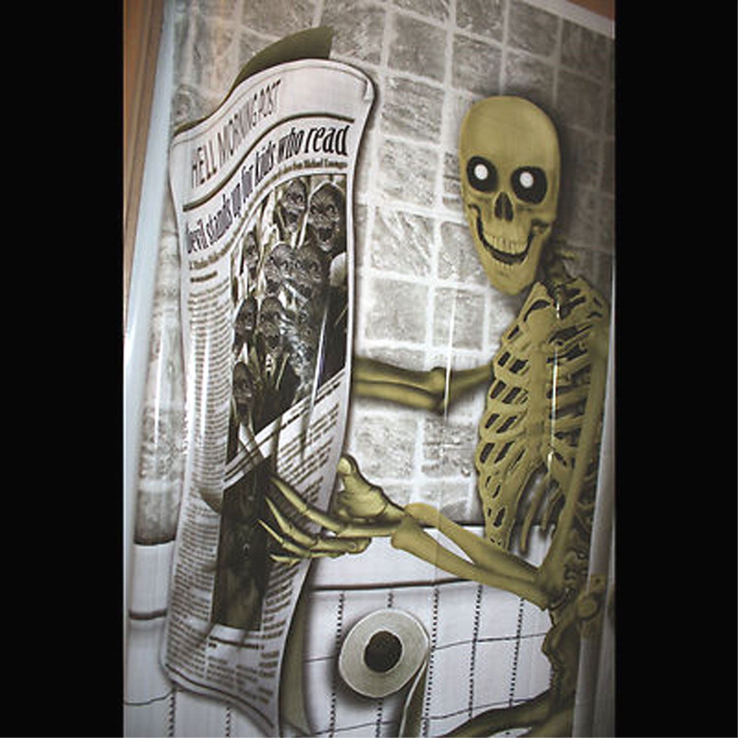 pooping skeleton bathroom door cover toilet halloween decoration