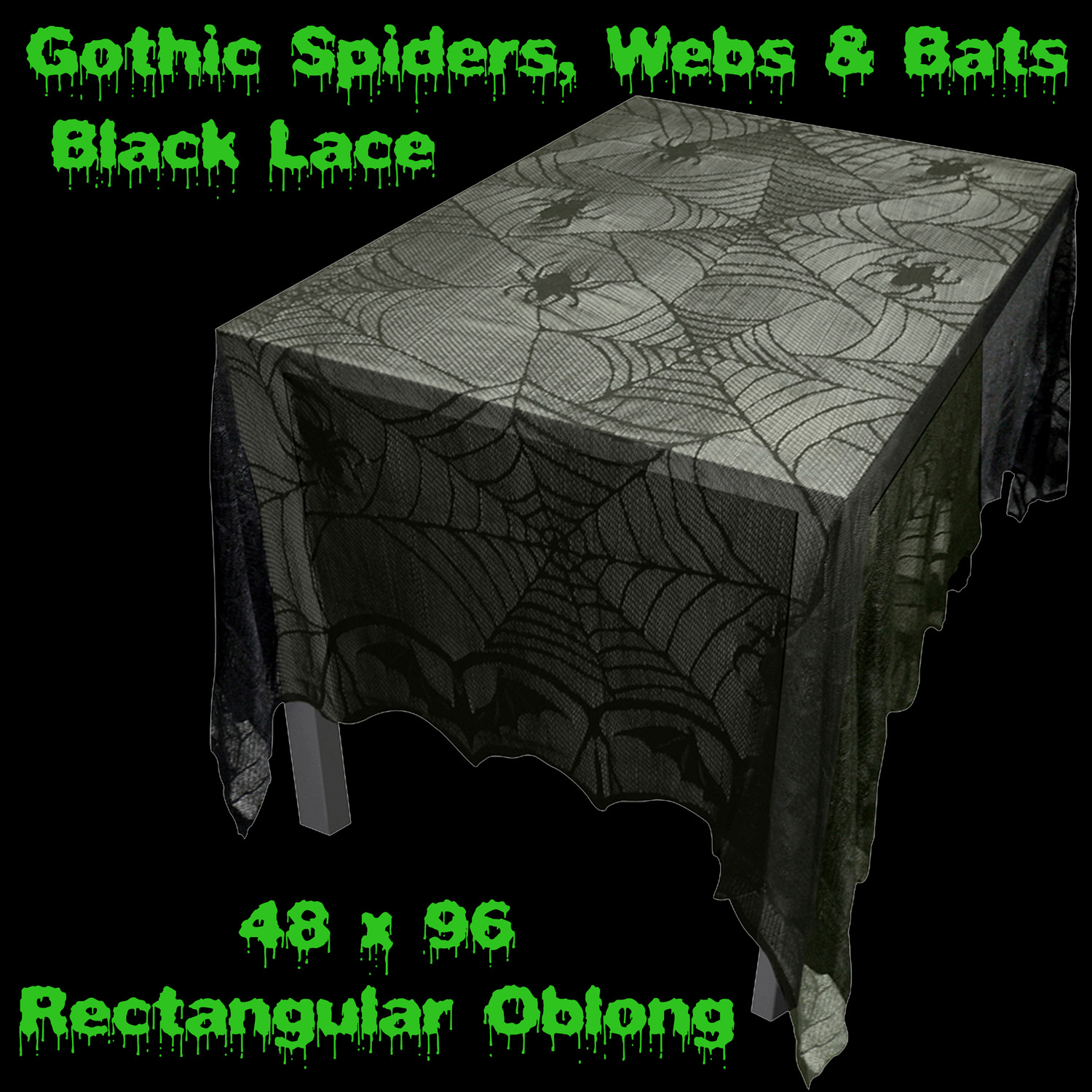 Elegant Gothic Haunted House Black Bat SPIDER WEB LACE TABLE CLOTH TOPPER  48 X 96