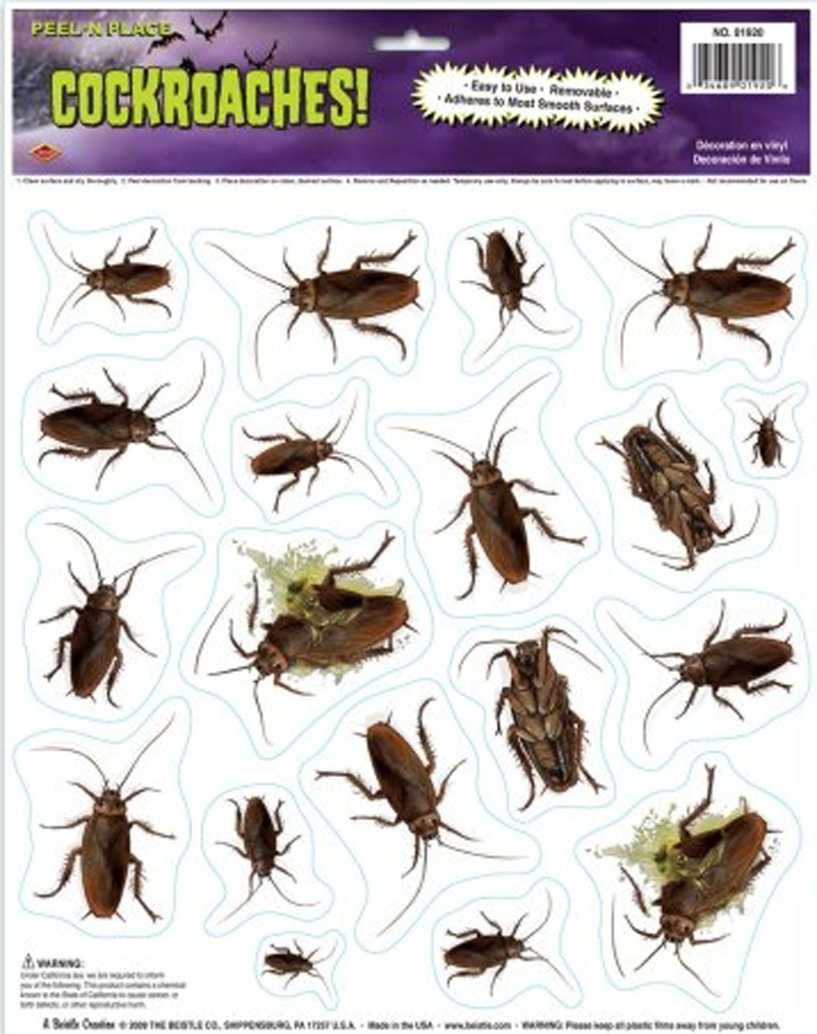 creepy bugs horror cockroaches grabber cling dirty kitchen insects halloween decoration costume party prop horror peel