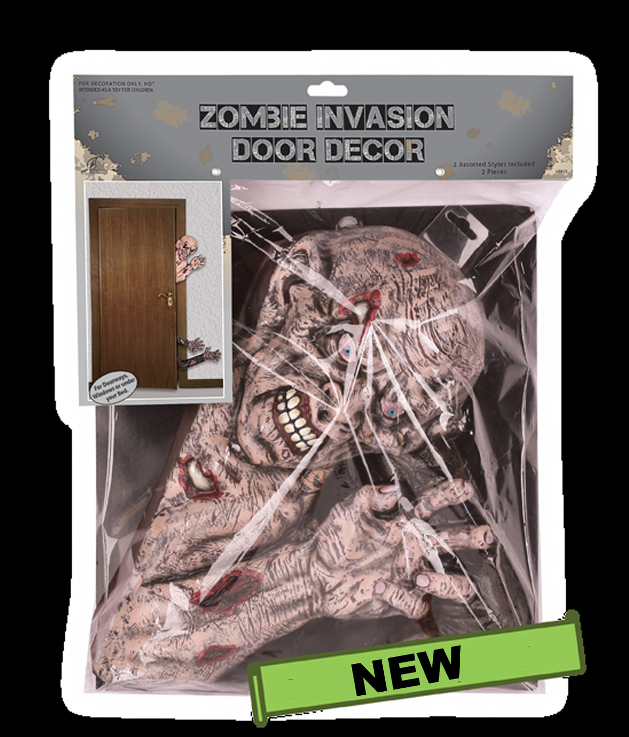 creepy haunted house halloween decoration zombie invasion door decor scary gross walking dead party prop