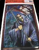 Gothic Post-Apocalyptic GRIM REAPER Skull Halloween Floor Gore Wall GRABBER Door Mirror Window CLING Tattoo Decal-Cemetery Crypt Graveyard Haunted House Scene Prop Building Apocalypse Party Teen Room Decoration