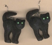 FUZZY BLACK CAT EARRINGS - Halloween Gothic Wicca or Wicked Witch Jewelry - Spooky, Flocked, Mini Arched Back Charm.