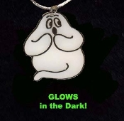 GHOST GLOW NECKLACE - Halloween Trick-Treat Charm Jewelry - GID Glow-in-the-Dark Plastic Charm, approx. *Needs no batteries... Charges in Bright Light!