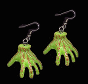 Funky Huge Slime Green Bloody Walkers ZOMBIE GHOUL HAND EARRINGS - Halloween Frankenstein Monster Ghoul Hands - Spooky Gothic Living Undead Walking Dead Inspired Charm Novelty Horror Costume Jewelry Party Favors
