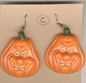 Gruesome JACK-O-LANTERN EARRINGS - Halloween - Nasty Monster Face Pumpkin - Style #C