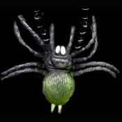 GIANT SPIDER TARANTULA PENDANT TALISMAN NECKLACE - Halloween Gothic Costume Jewelry - GREEN - Huge, Rubbery, Plastic Toy Charm. Creepy cosplay costume accessory for any witch, warlock, sorcerer, voodoo priestess, witch doctor or evil queen!