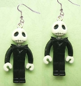 Funky LEGO inspired style JACK SKELLINGTON DANGLE EARRINGS Mini Figure - Nightmare Before Christmas Character Theme - Gothic Halloween Zombie Novelty Costume Jewelry.