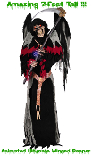 Huge 7-ft Life-Size Gothic Animated ULTIMATE WINGED GRIM REAPER DEMON ZOMBIE Light-up Sound Animatronic Display Greeter Halloween Haunted House Haunt Prop - AMAZING GOTHIC VOICE - See YouTube Demo!
