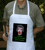 Gothic Zombie FRIENDS DON'T LET FRIENDS EAT FRIENDS BIB APRON The Walking Dead Butcher Halloween Costume Party Accessory Unisex Men Women Punk Ghoul Novelty Adult Size Creepy Photo Graphic BBQ Steampunk Horror FX Cosplay Fun Barbecue Kitchen Apparel