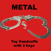 Steampunk Police Cosplay Costume Accessory CHROME METAL HANDCUFFS Gag Gift Halloween Prop Party Favor Toy Novelty Play Double Handcuffs with 2-Keys. Great trick joke Shackles! Fits up to Medium Adult bone structure. Lightweight Version Metal cuffs.