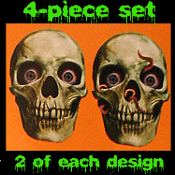 Large Realistic Gothic HUMAN SKELETON BIG SKULL CUTOUTS Party Door Wall Decoration Halloween Horror Prop. 4-pc SET. Gruesome Rotting Head with creepy bloodshot eyes and unforgettable stare! Graveyard, Cemetery, Dungeon, torture chamber, Walking Dead