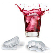 2pc SET-Gothic Decor Novelty True Blood Theme-VAMPIRE FANGS TEETH ICE CUBE TRAYS JELLO MOLDS-Cocktail Drink Bar Accessory-Haunted House Halloween Costume Party Decoration Kitchen Prop Building Crafts Form