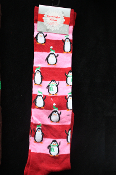 PINK RED-Holiday Novelty-PENGUIN STRIPE KNEE HIGH SOCKS-Christmas Stockings Rockabilly Lolita Clothing Accessory-sz 9-11. Cute Punk Fun Costume Team sports, soccer, volleyball, cheerleading, cheer accessories - Adults Teens Unisex Womens