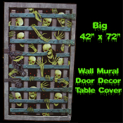 Creepy Gothic Scene Setter SKELETON PRISONER ATTACK DUNGEON ESCAPE DOOR COVER MURAL Spooky Wall Backdrop Window Hanging Table Topper Decor Scary Halloween Haunted House Cemetery Graveyard Prop Building Scene Setter Costume Party Decoration-Large Size
