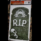 NEW Gothic Halloween Horror Decoration R.I.P.TOMBSTONE SKULL. Mad Doctor Monster Witch Cemetery Graveyard. FLOOR WALL GRABBER Tattoo Window Cling Decal Sticker Mirror Decor. Haunted House Crafts Haunt Prop Building Joke Prank Gag Gift.