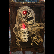 Gothic Lighted MONSTER ZOMBIE SKELETON PORTRAIT Walking Dead Halloween Party Prop. Dimensional Haunted House Picture with Lighted Candle Lamp Realistic Flame Bulb. Eyes Flicker! Horror Movie Night Haunt Wall Hanging Cemetery Graveyard Crypt Décor.