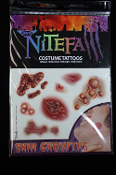 Realistic Zombie - TEMPORARY FAKE TATTOOS - Gothic Punk Biker Cheap Halloween Costume Accessories - SKIN GROWTHS OPEN WOUNDS - Gory Gross Bloody Horror Makeup Special Effects - Gruesome Dexter Serial Killer Accident Victim - TWO SHEET PACKAGE