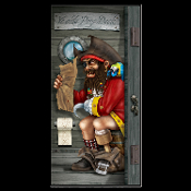 Funny Toilet PIRATE CAPTAIN in YE OLDE POOP DECK BATHROOM DOOR COVER Shower Mural Restroom Wall Decor Scene Setter. Perfect for birthday, Luau, beach party or Booty lover! Whimsical gag gift peg-legged Captain grimacing on the potty. Watch the hook!
