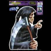 Car Window Mirror Cling Decal Hooded GRIM REAPER BACKSEAT DRIVER Over the Hill Halloween Prop Decoration Birthday Party Supplies. Who's in your hearse back seat? Cloaked Skeleton profile Passenger Static Vinyl. Funny, realistic spooky angel of death.