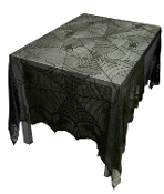Elegant Gothic Haunted House Black Bat-SPIDER WEB LACE TABLE CLOTH TOPPER 48 X 96-Halloween Decoration Kitchen Dining Decor Sheer Shroud - Haunted House Mansion Castle Costume Party Prop Building Supplies. Spooky witch den, scary horror scene setter.