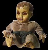 Creepy realistic haunted doll with sound has a spooky face, no eyes and fake cracks for a ghostly look. Scary toy monster talking dolly. Spooktacular gothic Halloween haunted house prop decoration. Innocent childlike voice speaks with nursery music.