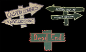 Gothic Halloween Decorations DIE-CUT FOAM SIGNS Haunted House Cemetery Graveyard Crafts Supplies Prop Building Supply Lot, Six piece SET, Caution Zombies, Zombie Crossing, Dead End, Rotten Realty, Mount Morbid, Teen Room, Man Cave Castle Décor.