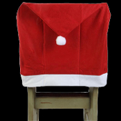 Fun Christmas Holiday SANTA CLAUS HAT CAP CHAIR BACK COVER Decorations. Non-Woven RED Felt Fabric. New Traditional Winter Theme Kitchen, Breakfast Bar, Dining Room Decor. You'd better watch out… Santa Claus is coming to town, ready to party!