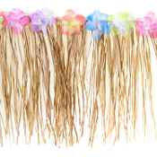 Cheap Wholesale Discount Indoor Outdoor RAFFIA Table Skirts, Skirting, Natural and Floral Decorative Grass Thatch, Deck Fringe, TIKI BAR Decor, Hawaiian Tahitian Tropical Island Backyard Party Pig Roast LUAU Decorations