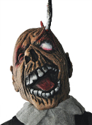 Creepy Bloody Monster Ghoul LIFE SIZE ZOMBIE HANGING by HOOKED EYE LID Haunted House Horror Prop Halloween Decoration. Cemetery Graveyard Dungeon Tortured Severed Dead Body with Head. Deformed mutant, painfully hung by his eyelid, screaming in agony!