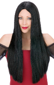 2ft Long Straight BLACK WITCH WIG Vampire Princess Hippie Halloween Costume Fancy Dress-up Cosplay Accessories. Funky Accessory for any aspiring Lady Gaga, Hula Girl, Evil Witch, Cher, Elvira, Hippy costume!
