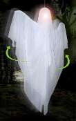 Life Size Spinning LED Light-up Animated HANGING ROTATING GHOST Morphing Blinking Color Changing Haunted House Cemetery Graveyard Halloween Horror Prop Decoration. Lighted Animatronic Spirit will not disappoint, and is spooky enough for all ages!