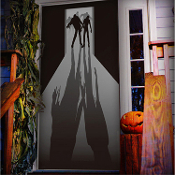 Gothic Walking Dead ZOMBIE VISITORS DOOR COVER MURAL Halloween Haunted House Costume Party Decoration Apocalypse Horror Movie Film Wall Hanging Window Decor DIY Living Undead Cemetery Graveyard Prop Building Supplies